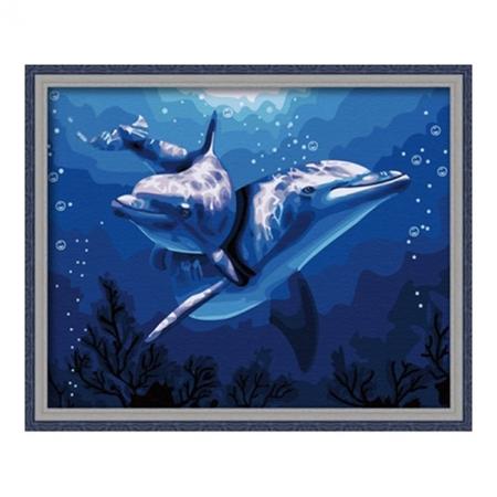 Рисование по номерам. Картина серии Животные, птицы 40х50см, Дельфины, Идейка (MG056)