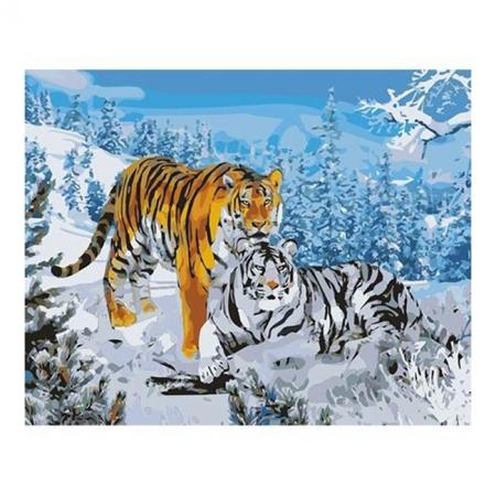 Рисование по номерам. Картина серии Животные, птицы 40х50см, Два тигра, Идейка (MG194)