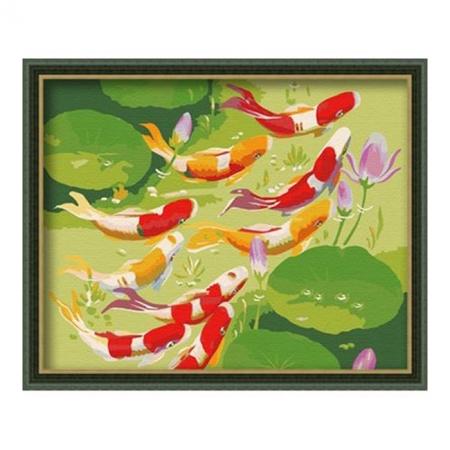 Рисование по номерам. Картина серии Животные, птицы 40х50см, Фэн-Шуй: 9 золотых карпов, Идейка (MG028)