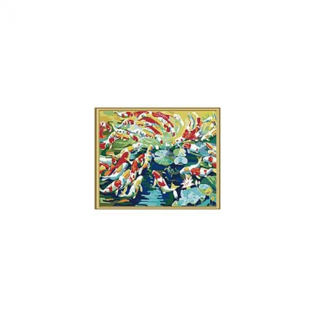 Рисование по номерам. Картина серии Животные, птицы 40х50см, Пруд с карпами, Идейка (MG153)