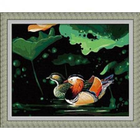 Рисование по номерам. Картина серии Животные, птицы 40х50см, Уточки-мандаринки, Идейка (G043)