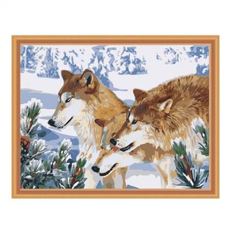 Рисование по номерам. Картина серии Животные, птицы 40х50см, Волчья стая, Идейка (MG205)