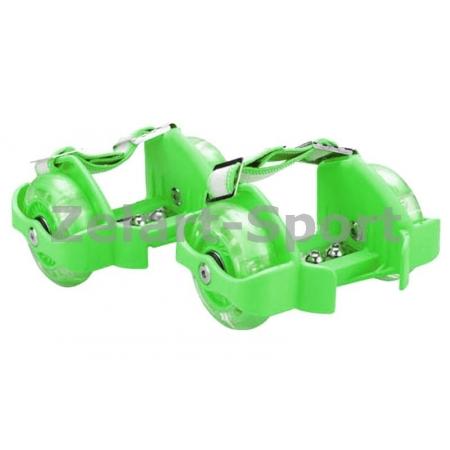 Ролики на пятку Flashing Roller SK-166-G зеленый (пластик, колесо PU светящ., 3 лампы, ABEC-5)