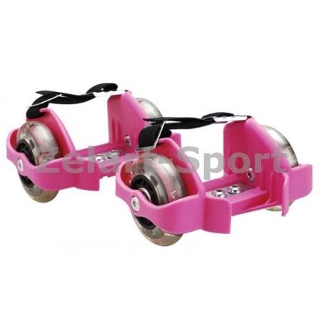 Ролики на пятку Flashing Roller SK-166-P розовый (пластик, колесо PU светящ., 3 лампы, ABEC-5)