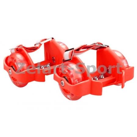 Ролики на пятку Flashing Roller SK-166-R красный (пластик, колесо PU светящ., 3 лампы, ABEC-5)