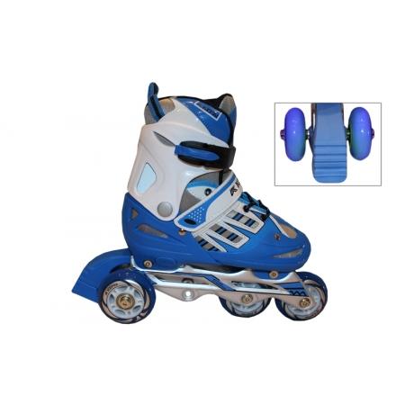 Роликовые коньки раздвижные детские KEPAI F1-F1-BL(M) (34-37) (изменен. полож. колес, синий)