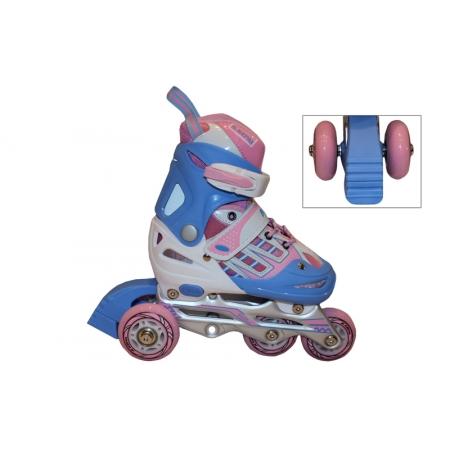 Роликовые коньки раздвижные детские KEPAI F1-F1-P(M) (34-37) (изменен. полож. колес, розовый)