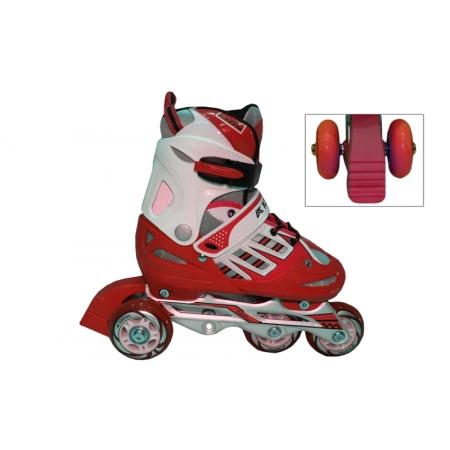 Роликовые коньки раздвижные детские KEPAI F1-F1-R(M) (34-37) (изменен. полож. колес, красный)