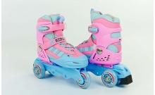 Роликовые коньки раздвижные детские KEPAI SK-321P-M (32-35) (изменен. полож. колес, розовые)
