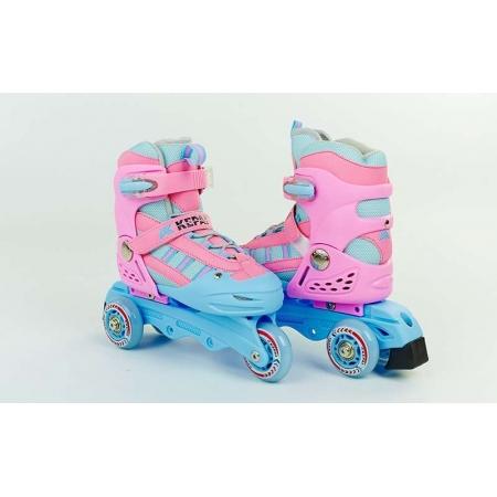 Роликовые коньки раздвижные детские KEPAI SK-321P-S (28-31) (изменен. полож. колес, розовые)