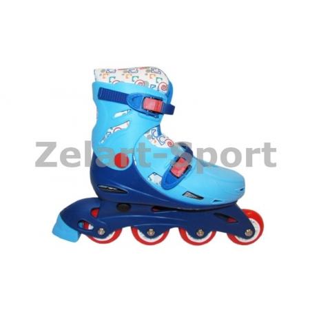 Роликовые коньки раздвижные детские LY2013-BL(M) (33-36) (изменен. полож. колес, синий-голубой)
