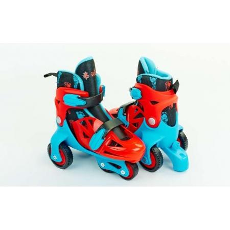 Роликовые коньки раздвижные детские YX-014N-BL(31-34) (изменен. полож. колес, S, голубой)