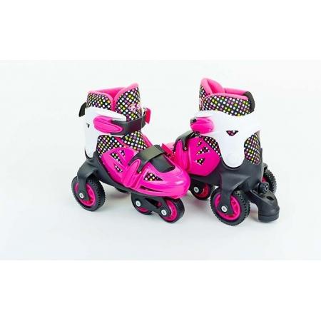 Роликовые коньки раздвижные детские YX-014N-P(31-34) (изменен. полож. колес, S, розовый)