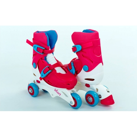 Роликовые коньки раздвижные детские YX-0153-P(27-30) (изменен. полож. колес, XS, розовый)