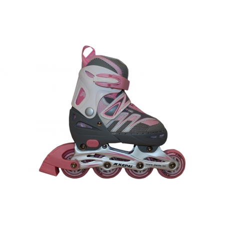 Роликовые коньки раздвижные KEPAI F1-K02-P(L) (38-41) (PL,PVC, колесо PU, алюм. рама, розовый)