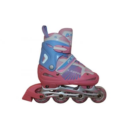 Роликовые коньки раздвижные KEPAI F1-K08-P(L) (38-41) (PL,PVC, колесо PU, алюм. рама, розовый)