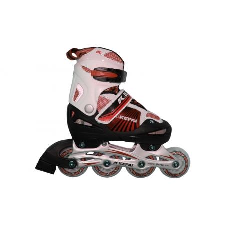 Роликовые коньки раздвижные KEPAI F1-K08-R(L) (38-41) (PL,PVC, колесо PU, алюм. рама, красный)
