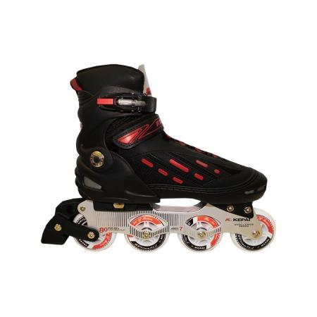 Роликовые коньки раздвижные KEPAI F1-S9-R(XL) (42-44) (PL, PVC,колесо PU, алюм. рама,черный-красный)