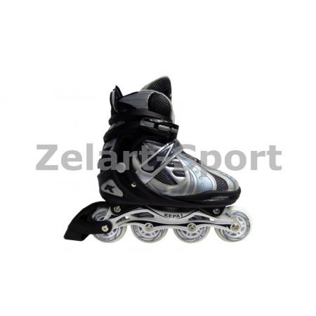 Роликовые коньки раздвижные KEPAI F1-V5-BL(L) (39-42) (PL,PVC, колесо PU, алюм. рама, синий)