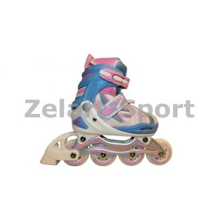 Роликовые коньки раздвижные KEPAI F1-V5-P(L) (39-42) (PL,PVC, колесо PU, алюм. рама, розовый)