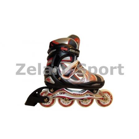 Роликовые коньки раздвижные KEPAI F1-V5-R(L) (39-42) (PL,PVC, колесо PU, алюм. рама, красный)