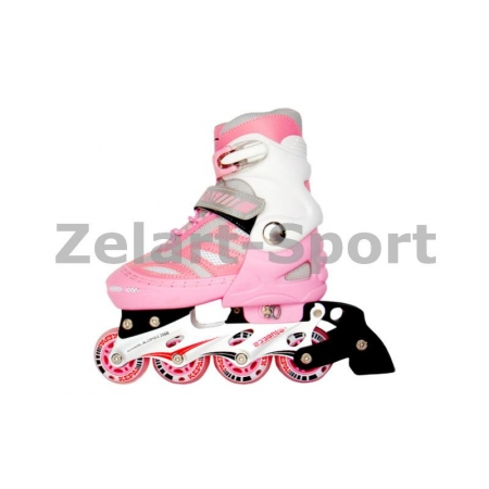 Роликовые коньки раздвижные KEPAI SK-28002PW-S (30-33) (PL, PVC, кол. PU, алюм. рама, розов-белый)