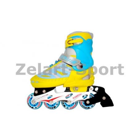 Роликовые коньки раздвижные KEPAI SK-28002YB-S (30-33) (PL,PVC, кол. PU, алюм. рама, желтый-голуб)