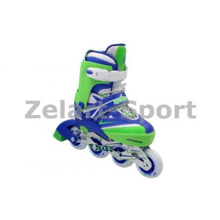 Роликовые коньки раздвижные ZEL Z-094BG(34-37) FOREVER (PL, PVC, колесо PU, алюм. рама, син-салат)