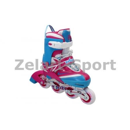 Роликовые коньки раздвижные ZEL Z-094PB(34-37) FOREVER (PL, PVC, колесо PU, алюм. рама, розов-син)