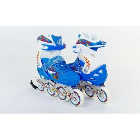 Роликовые коньки раздвижные ZEL Z-096B(34-37) HEARTFUL (PL, PVC, колесо PU, алюм. рама, синие)