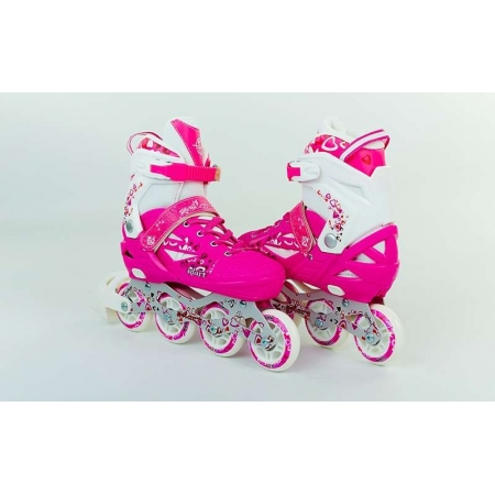 Роликовые коньки раздвижные ZEL Z-096P(34-37) HEARTFUL (PL, PVC, колесо PU, алюм. рама, розовые)