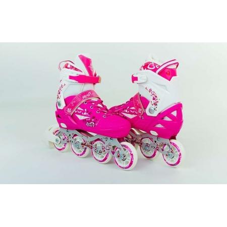 Роликовые коньки раздвижные ZEL Z-096P(38-41) HEARTFUL (PL, PVC, колесо PU, алюм. рама, розовые)