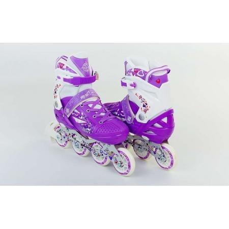 Роликовые коньки раздвижные ZEL Z-096V(30-33) HEARTFUL (PL, PVC, колесо PU, алюм. рама, фиолетовые)
