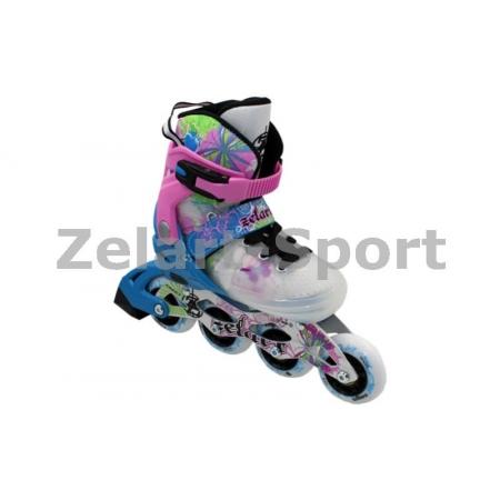 Роликовые коньки раздвижные ZEL Z-097BP(34-37) SPRING (PL, PVC,колесо PU,алюм. рама,син-роз)