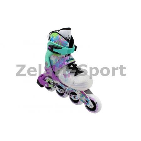 Роликовые коньки раздвижные ZEL Z-097VG(38-41) SPRING (PL, PVC,колесо PU,алюм. рама,фиолет-зелен)