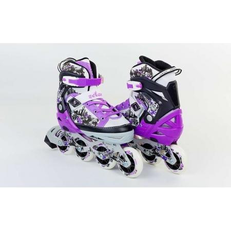 Роликовые коньки раздвижные ZEL Z-098V(34-37) (PL, PVC, колесо PU, алюм. рама, фиолетовые)
