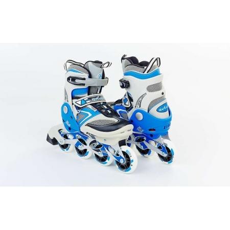 Роликовые коньки раздвижные ZEL Z-432B(32-35) (PL, PVC, колесо PU, алюм. рама, синие)