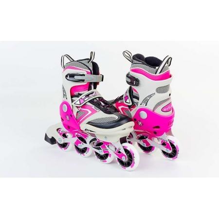 Роликовые коньки раздвижные ZEL Z-432P(36-39) (PL, PVC, колесо PU, алюм. рама, розовые)