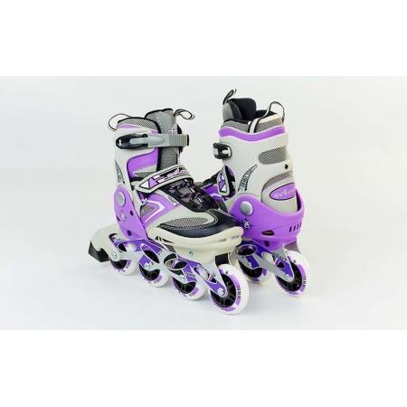 Роликовые коньки раздвижные ZEL Z-432V(32-35) (PL, PVC, колесо PU, алюм. рама, фиолетовые)