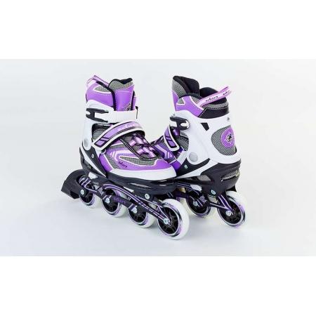 Роликовые коньки раздвижные ZEL Z-5102V(32-35) LUX (PL, PVC, колесо PU, алюм. рама, фиолетовые)