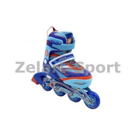 Роликовые коньки раздвижные ZEL Z-5104BO(35-38) CANDY (PL, PVC,колесо PU,алюм. рама,син-оранж)
