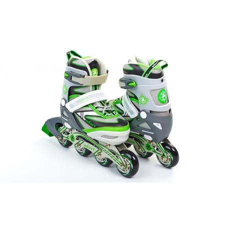 Роликовые коньки раздвижные ZEL Z-5104GRG(31-34) CANDY (PL, PVC,колесо PU,алюм. рама,сер-зелен)