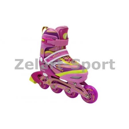 Роликовые коньки раздвижные ZEL Z-5104PY(35-38) CANDY (PL, PVC,колесо PU,алюм. рама,роз-жел)