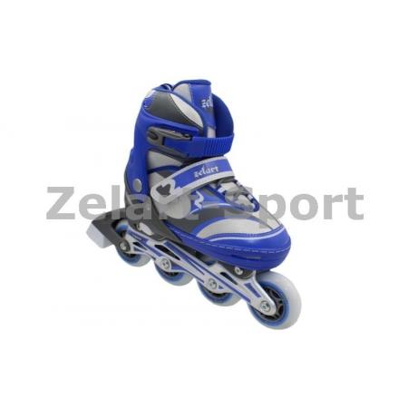 Роликовые коньки раздвижные ZEL Z-608B(27-30) ENJOYMENT (PL, PVC,колесо PU,алюм. рама,синие)