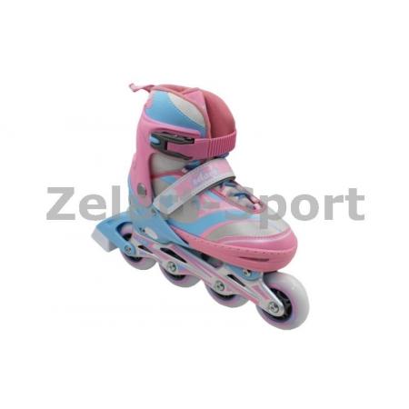 Роликовые коньки раздвижные ZEL Z-608PB(31-34) ENJOYMENT (PL, PVC,колесо PU,алюм. рама,роз-голуб)
