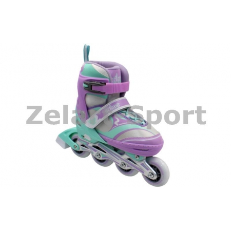 Роликовые коньки раздвижные ZEL Z-608VG(27-30) ENJOYMENT (PL, PVC,колесо PU,алюм. рама,фиолет-зел)