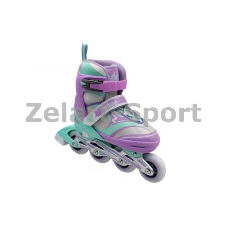 Роликовые коньки раздвижные ZEL Z-608VG(31-34) ENJOYMENT (PL, PVC,колесо PU,алюм. рама,фиолет-зел)