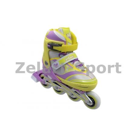 Роликовые коньки раздвижные ZEL Z-608YV(31-34) ENJOYMENT (PL, PVC,колесо PU,алюм. рама,жел-фиолет)