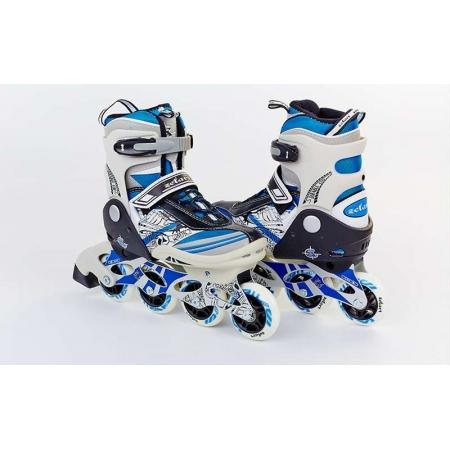 Роликовые коньки раздвижные ZEL Z-633B(32-35) FREESTYLE (PL, PVC, колесо PU, алюм. рама, синие)