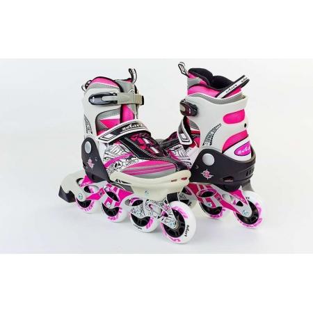 Роликовые коньки раздвижные ZEL Z-633P(32-35) FREESTYLE (PL, PVC, колесо PU, алюм. рама, розовые)